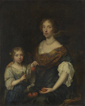 Portrait of a Lady and a Girl | Caspar Netscher | oil painting
