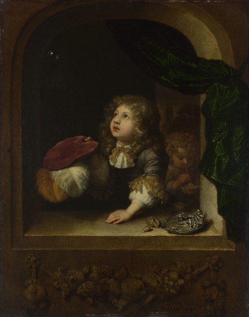 Two Boys blowing Bubbles | Caspar Netscher | oil painting