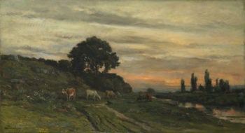 Landscape with Cattle by a Stream   Charles-Francois Daubigny   oil painting