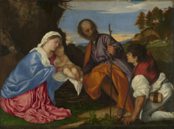 The Holy Family with a Shepherd | Titian | oil painting