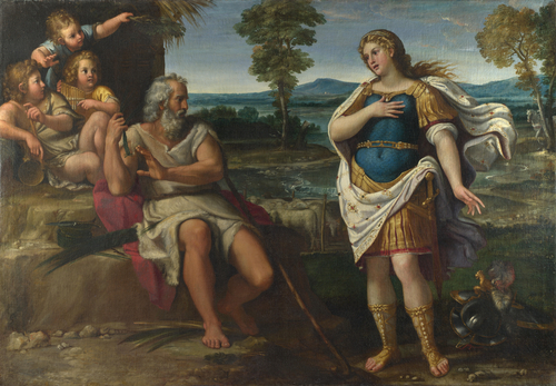 Erminia takes Refuge with the Shepherds | Circle of Annibale Carracci | oil painting