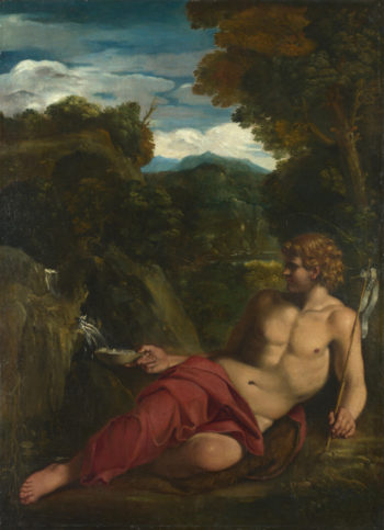 Saint John the Baptist seated in the Wilderness | Circle of Annibale Carracci | oil painting