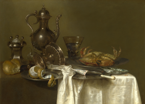 Pewter and Silver Vessels and a Crab | Willem Claesz. Heda | oil painting