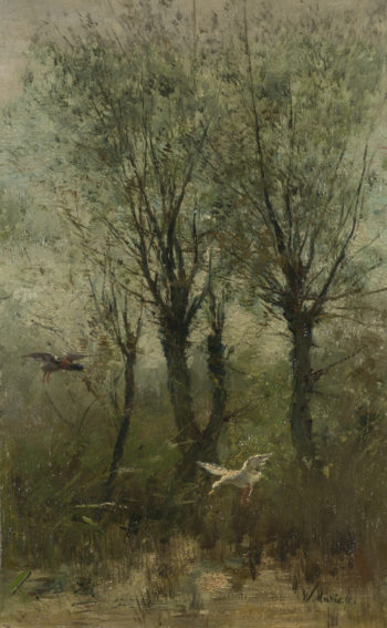 Ducks alighting on a Pool | Willem Maris | oil painting