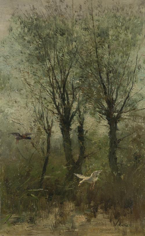 Ducks alighting on a Pool | Willem Maris | oil painting