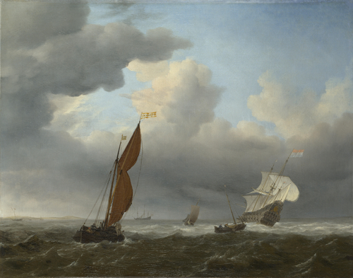 A Dutch Ship and Other Small Vessels in a Strong Breeze | Willem van de Velde | oil painting