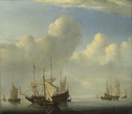 A Dutch Ship coming to Anchor | Willem van de Velde | oil painting