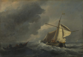 A Dutch Vessel in a Strong Breeze | Willem van de Velde | oil painting