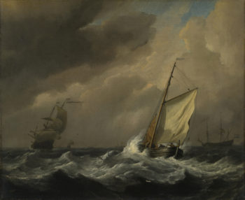 A Small Dutch Vessel close-hauled in a Strong Breeze | Willem van de Velde | oil painting