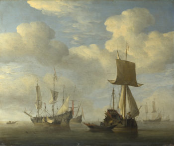 An English Vessel and Dutch Ships Becalmed | Willem van de Velde | oil painting