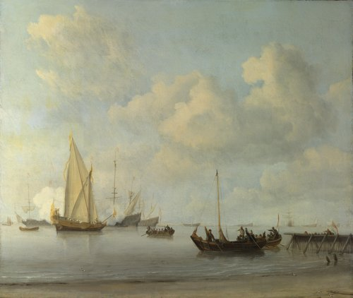 Boats pulling out to a Yacht in a Calm | Willem van de Velde | oil painting