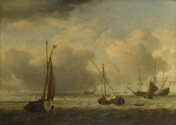 Dutch Ships and Small Vessels Offshore in a Breeze | Willem van de Velde | oil painting