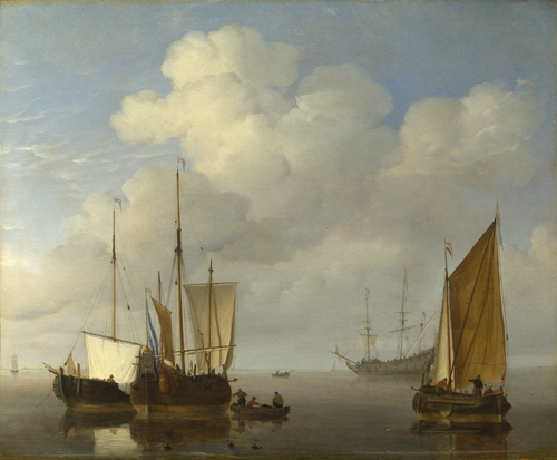Dutch Ships in a Calm | Willem van de Velde | oil painting