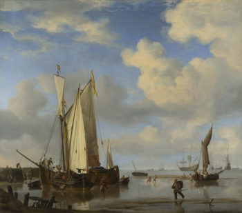 Dutch Vessels Inshore and Men Bathing | Willem van de Velde | oil painting