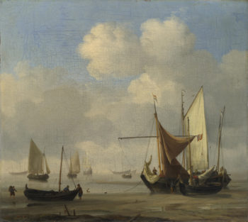 Small Dutch Vessels Aground at Low Water in a Calm | Willem van de Velde | oil painting