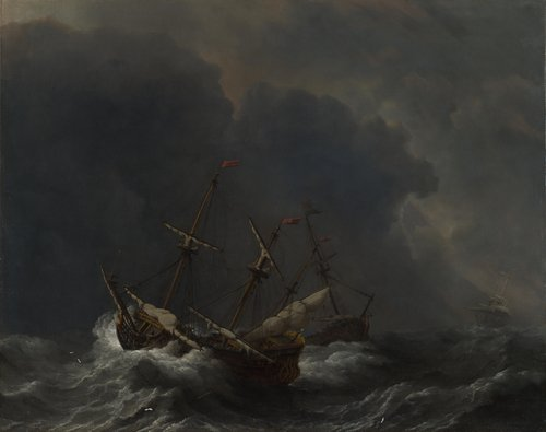 Three Ships in a Gale | Willem van de Velde | oil painting