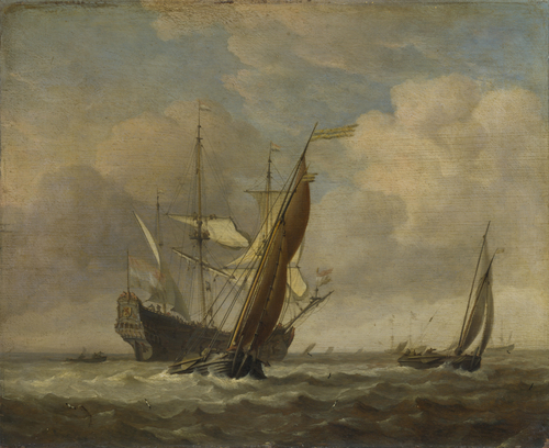 Two Small Vessels and a Dutch Man-of-War in a Breeze | Willem van de Velde | oil painting