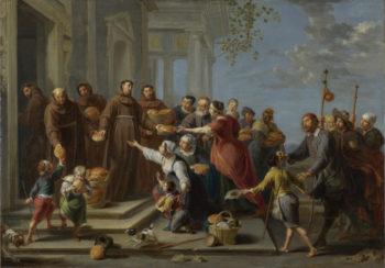Saint Anthony of Padua distributing Bread | Willem van Herp the Elder | oil painting