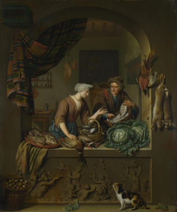 A Woman and a Fish-pedlar in a Kitchen | Willem van Mieris | oil painting