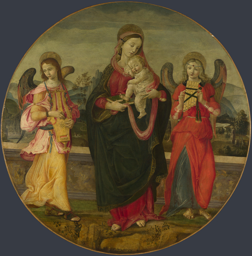 The Virgin and Child with Two Angels | Workshop of Raffaellino del Garbo | oil painting