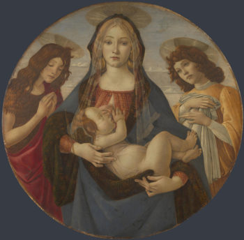 The Virgin and Child with Saint John and an Angel | Workshop of Sandro Botticelli | oil painting