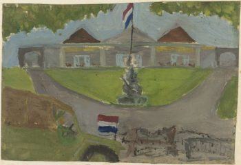 Dutch troops occupied the presidential palace. 1948 - 1949 | Mohammad Toha Adimidjojo | oil painting