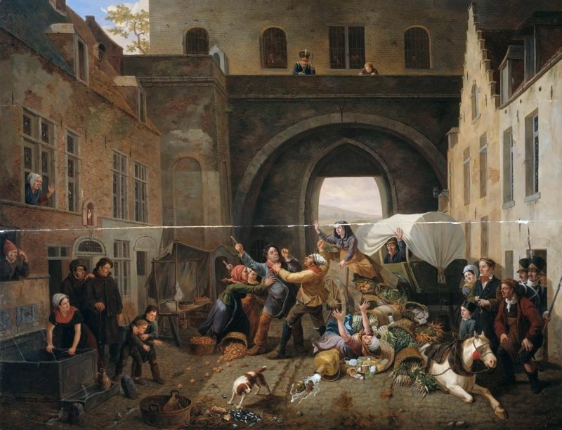A collision at the Halpoort Brussels (Alcohol Smuggling). 1823 | Constantinus Fidelio Coene | oil painting