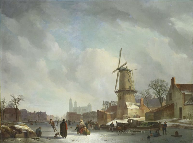 Fun on the ice on a canal. 1830 - 1837 | Abraham Johannes Couwenberg | oil painting