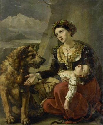 A Saint Bernard dog is a stray woman with a sick child to help. 1827 | Charles Picqu? | oil painting