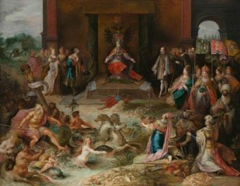 Allegory on the Abdication of Emperor Charles V in Brussels. ca. 1630 - ca. 1640 | Frans Francken (II) | oil painting