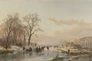 A Frozen Canal near the River Meuse. 1867 | Andreas Schelfhout | oil painting
