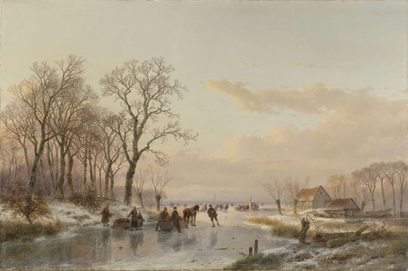 A Frozen Canal near the River Meuse. 1867   Andreas Schelfhout   oil painting