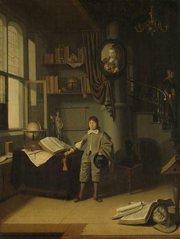 Young man in a study. 1640 - 1650 | Adriaen van Gaesbeeck | oil painting