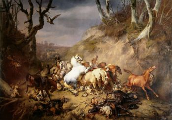 Hungry wolves attacked a group of riders. 1836 | Eug?ne Joseph Verboeckhoven | oil painting