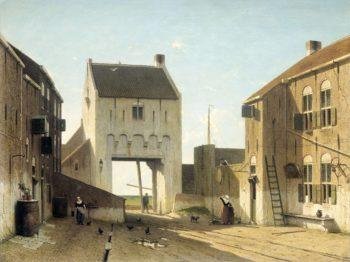 A Towngate in Leerdam. ca. 1868 - ca. 1870 | Jan Weissenbruch | oil painting