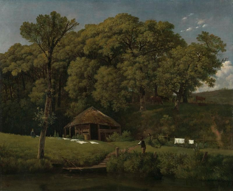 A Barn on the Bank of a Stream in Gelderland. ca. 1805 - ca. 1810 | Wouter Johannes van Troostwijk | oil painting
