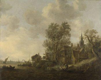 View of a village on a river. 1645   Jan van Goyen   oil painting
