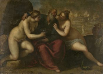 Lot and his daughters. 1610 - 1620 | Jacopo Palma (il Giovane) | oil painting