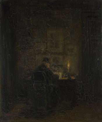 An Old Man writing by Candlelight | Jozef Israels | oil painting