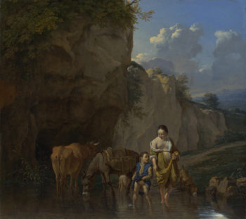 A Woman and a Boy with Animals at a Ford | Karel Dujardin | oil painting