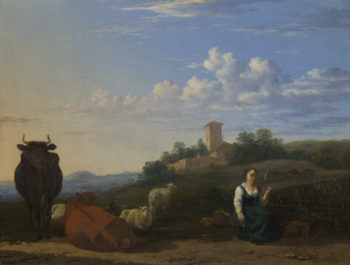 A Woman with Cattle and Sheep in an Italian Landscape | Karel Dujardin | oil painting