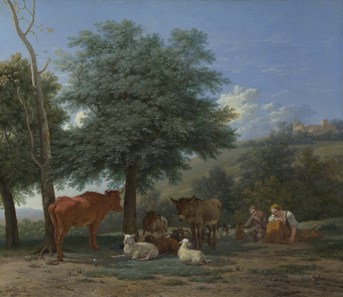 Farm Animals with a Boy and Herdswoman | Karel Dujardin | oil painting