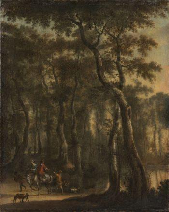 Woodland scene with hunters. 1660 - 1685 | Jan Hackaert | oil painting
