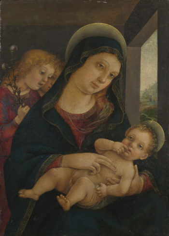 The Virgin and Child with Two Angels | Liberale da Verona | oil painting