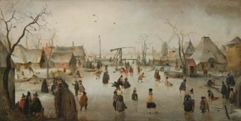 Skating Riding in a village. ca. 1610 | Hendrick Avercamp | oil painting