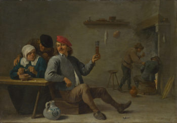 A Man holding a Glass and an Old Woman lighting a Pipe | David Teniers the Younger | oil painting