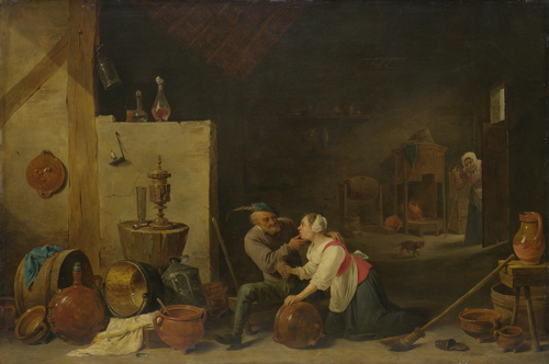 An Old Peasant caresses a Kitchen Maid in a Stable | David Teniers the Younger | oil painting