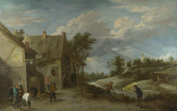 Peasants playing Bowls outside a Village Inn | David Teniers the Younger | oil painting