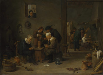 Two Men playing Cards in the Kitchen of an Inn | David Teniers the Younger | oil painting