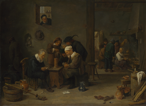 Two Men playing Cards in the Kitchen of an Inn   David Teniers the Younger   oil painting